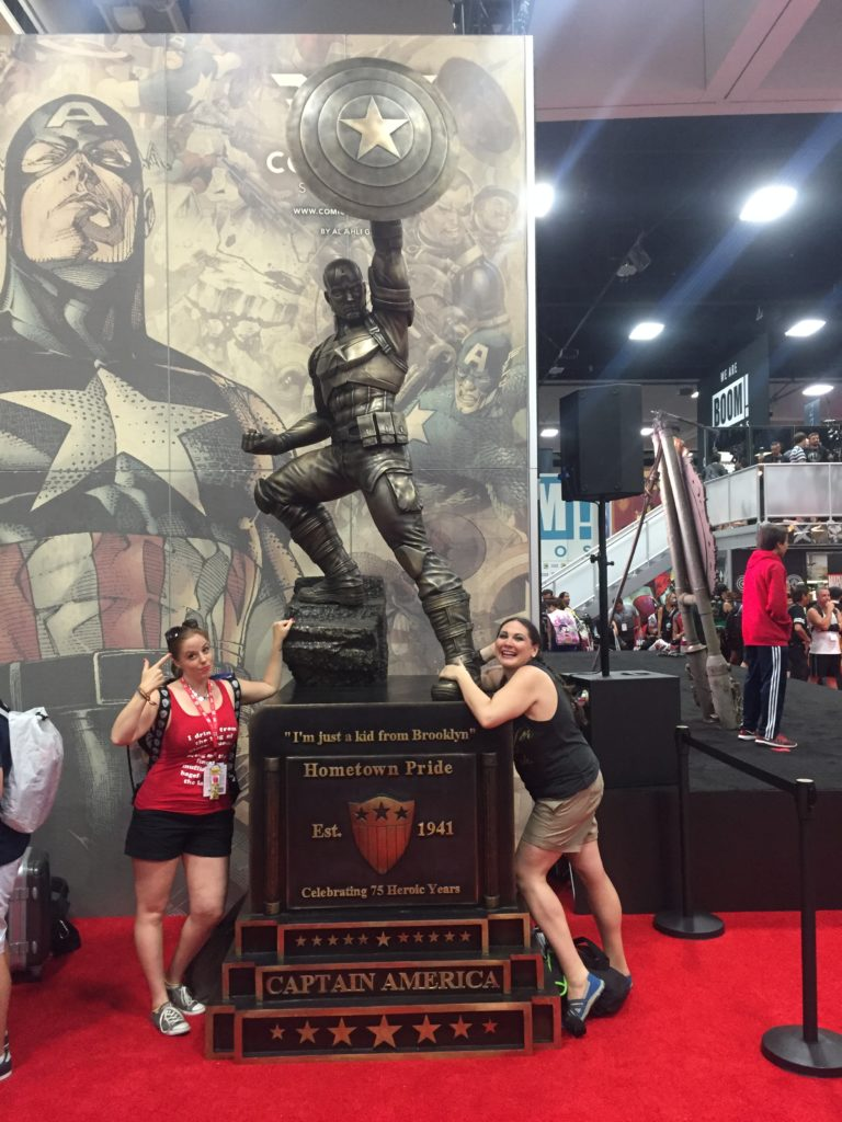 With the Captain America statue that will eventually live in Brooklyn.